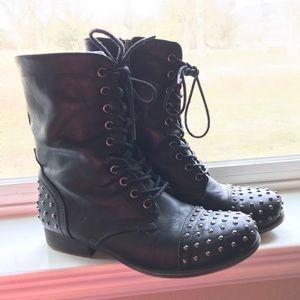 Black studded lace up combat boots